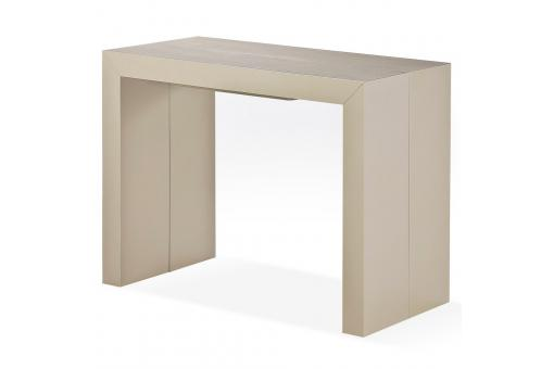 Table Console Extensible Bois Massif 4 Rallonges Taupe Clair ALLEN