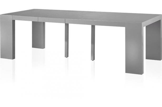 table console extensible gris laqu 4 rallonges 250cm chicago table console pas cher. Black Bedroom Furniture Sets. Home Design Ideas
