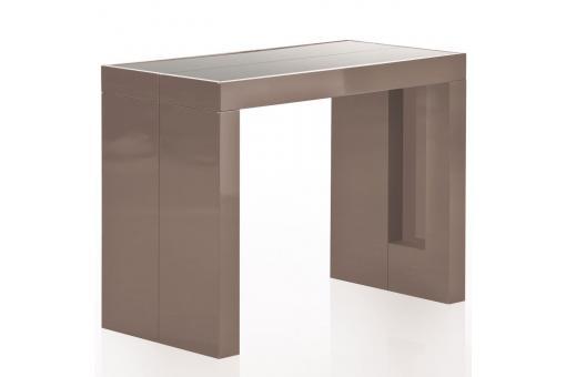 Console extensible taupe 250cm mat avec rangement larson table console pas - Console avec rangement ...