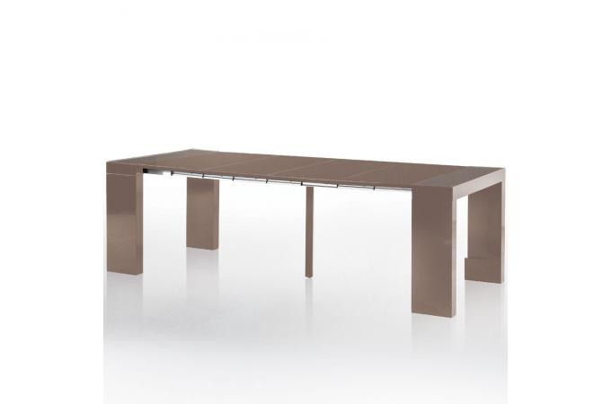 console extensible taupe 250cm mat avec rangement larson table console pas cher. Black Bedroom Furniture Sets. Home Design Ideas