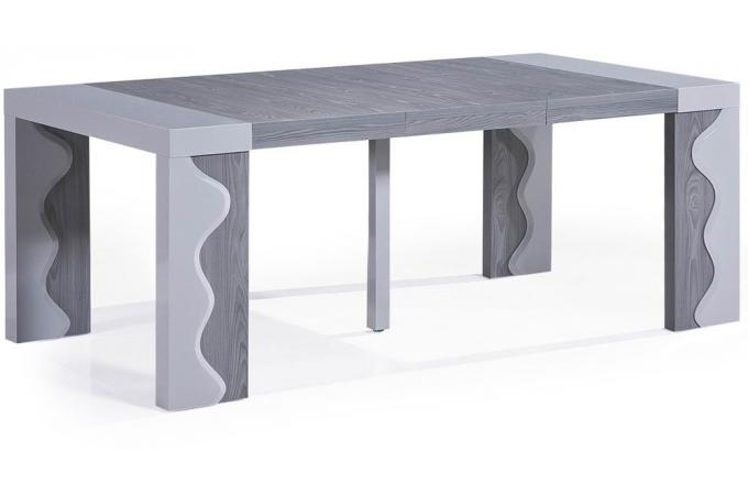 Console extensible ch ne gris 250cm laque chicago table - Table laquee extensible ...