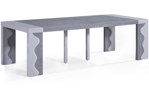 Console extensible ch ne gris 250cm laque chicago table console pas cher - Console extensible gris laque ...
