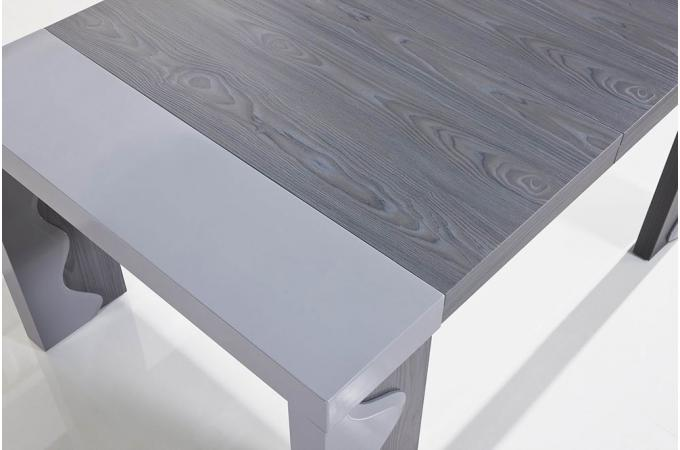 Chêne Table Chicago 250cm Console Extensible Gris Laque 5Rj34ALcq