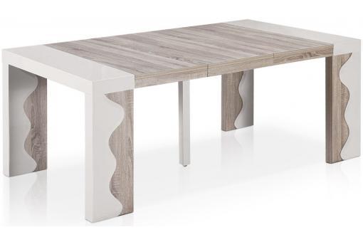 console extensible blanche bicolore 250cm laque chicago. Black Bedroom Furniture Sets. Home Design Ideas