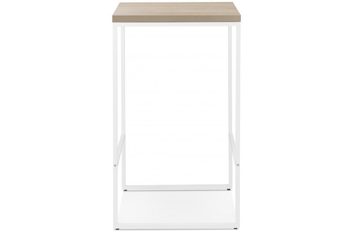 Table De Bar Carree H 105 Pietement En Metal Blanc Wiky Table De