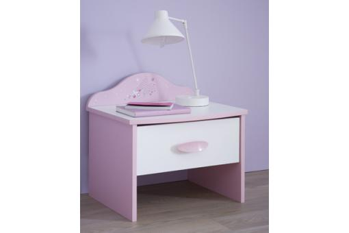 Table de chevet 1 tiroir rose pastel blanc perle TIKA - Deco enfant design