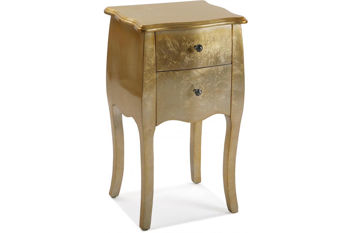 Table De Chevet Doree Avec 2 Tiroirs Oma Table De Chevet Pas Cher