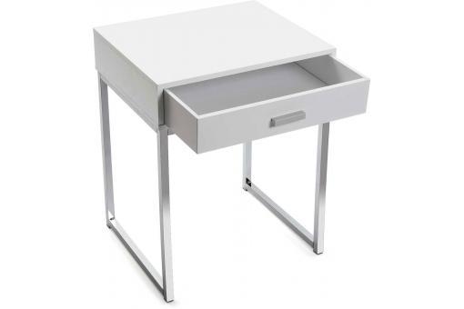 table de chev t blanche pied carr soba table de chevet pas cher. Black Bedroom Furniture Sets. Home Design Ideas