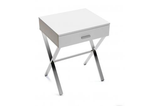 table de chev t blanche pied crois soba table de chevet pas cher. Black Bedroom Furniture Sets. Home Design Ideas