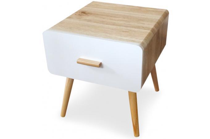 Table de chevet blanche et bois filia table de chevet - Table de chevet blanche design ...