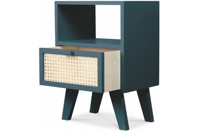 table de chevet cannage 1 case et 1 tiroir en bois bleu shirley table de chevet pas cher. Black Bedroom Furniture Sets. Home Design Ideas