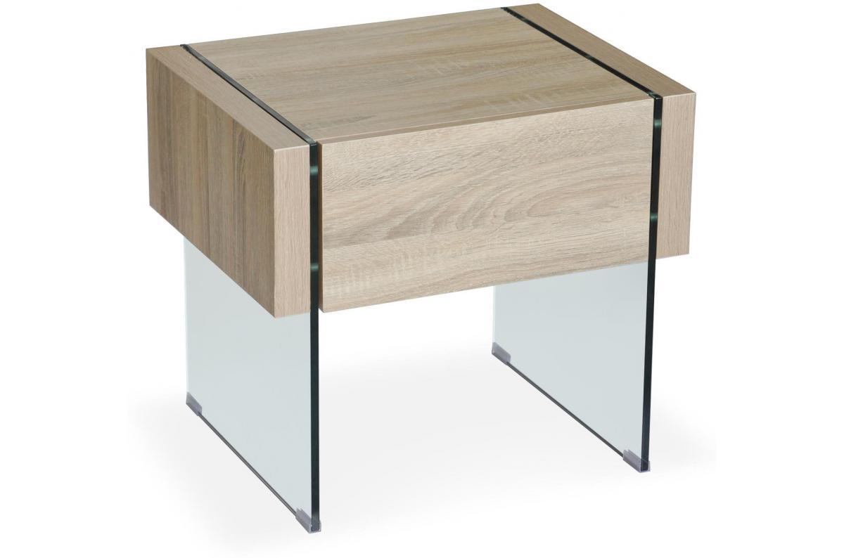 Table De Chevet Moderne 1 Tiroir Chene Clair Anika Table De