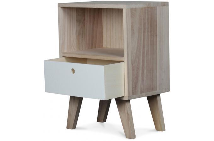 Table de chevet style scandinave en bois 1 tiroir 36x25x50 montreal table d 39 appoint pas cher for Meuble scandinave montreal