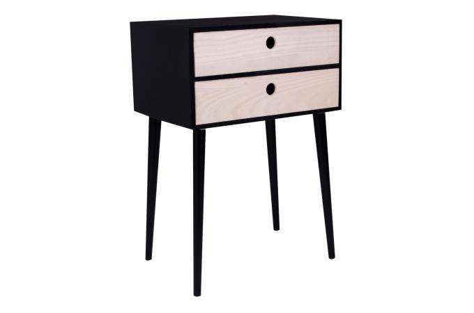 table de chevet scandinave noire 2 tiroirs rikke table. Black Bedroom Furniture Sets. Home Design Ideas