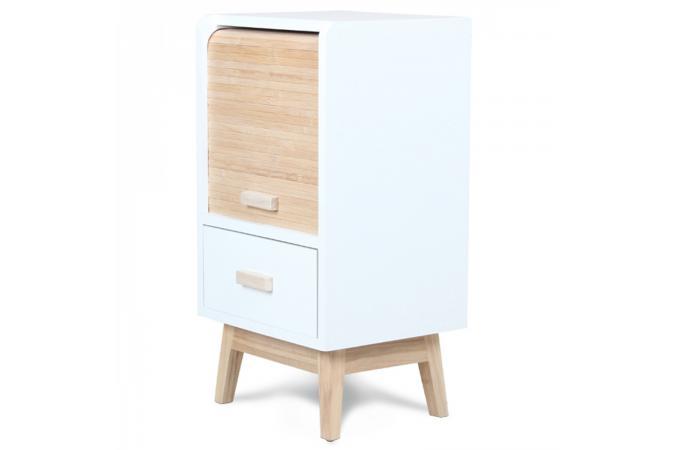 table de chevet style scandinave en bois avec rangement porte roulante h56 damian table de. Black Bedroom Furniture Sets. Home Design Ideas
