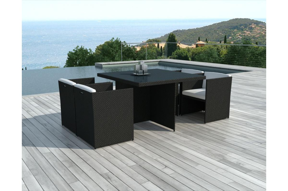 Salle A Manger De Jardin En Resine Tressee table et chaises de jardin bicolores en résine tressée alix plus d'infos