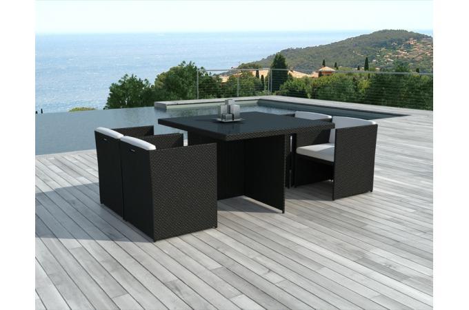 table et chaises de jardin bicolores en r sine tress e. Black Bedroom Furniture Sets. Home Design Ideas