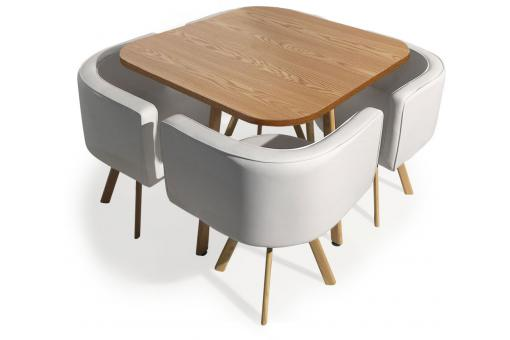 Table et chaises Encastrables Scandinaves Chêne COPENHAGUE - Table design
