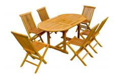 Ensemble Table de Jardin Ovale + 6 Chaises Teck HAUL - Salon de jardin marron