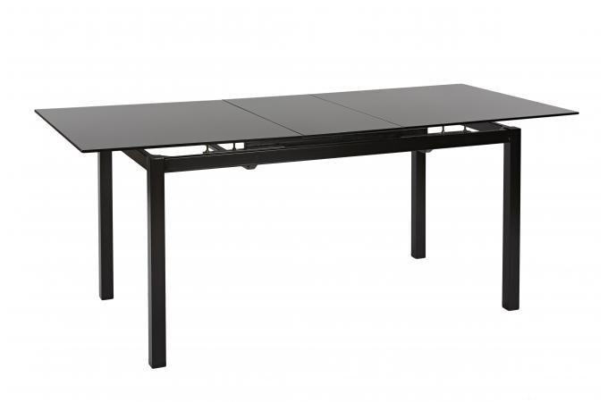 table plateau de verre avec allonge noir eclair table. Black Bedroom Furniture Sets. Home Design Ideas