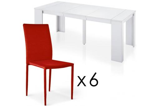 Table Repas Blanche + 6 Chaises Empilables Rouges MANHATTAN