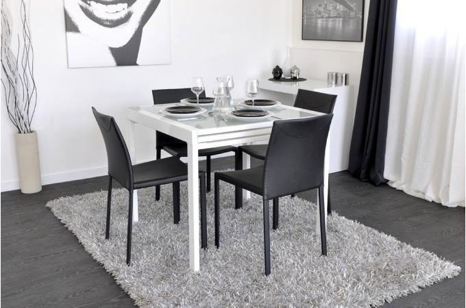 Table a manger avec plateaux coulissants l180cm coloris for Table a rallonge design
