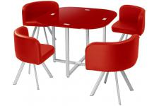 Table Repas Damier avec 4 Chaises Rouge CHESS - Table a manger design