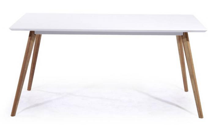 Table repas rect laqu satin blanc pieds ch ne naturel for Table design 4 pieds