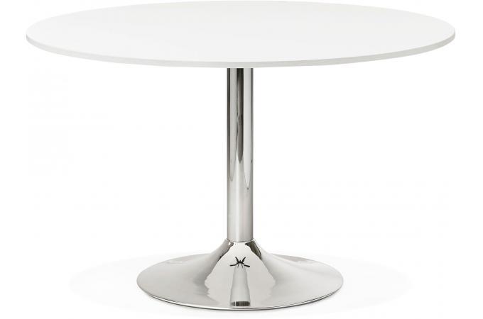 Table ronde avec plateau en bois blanc et pied en m tal addison table manger pas cher - Table plateau bois pied metal ...