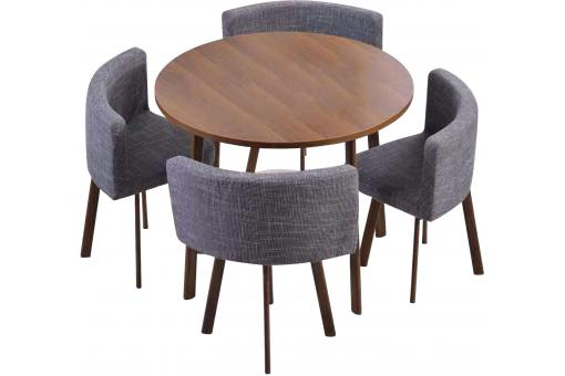 Table Ronde Marron et Chaises en Tissu Gris ROISSY - Table design