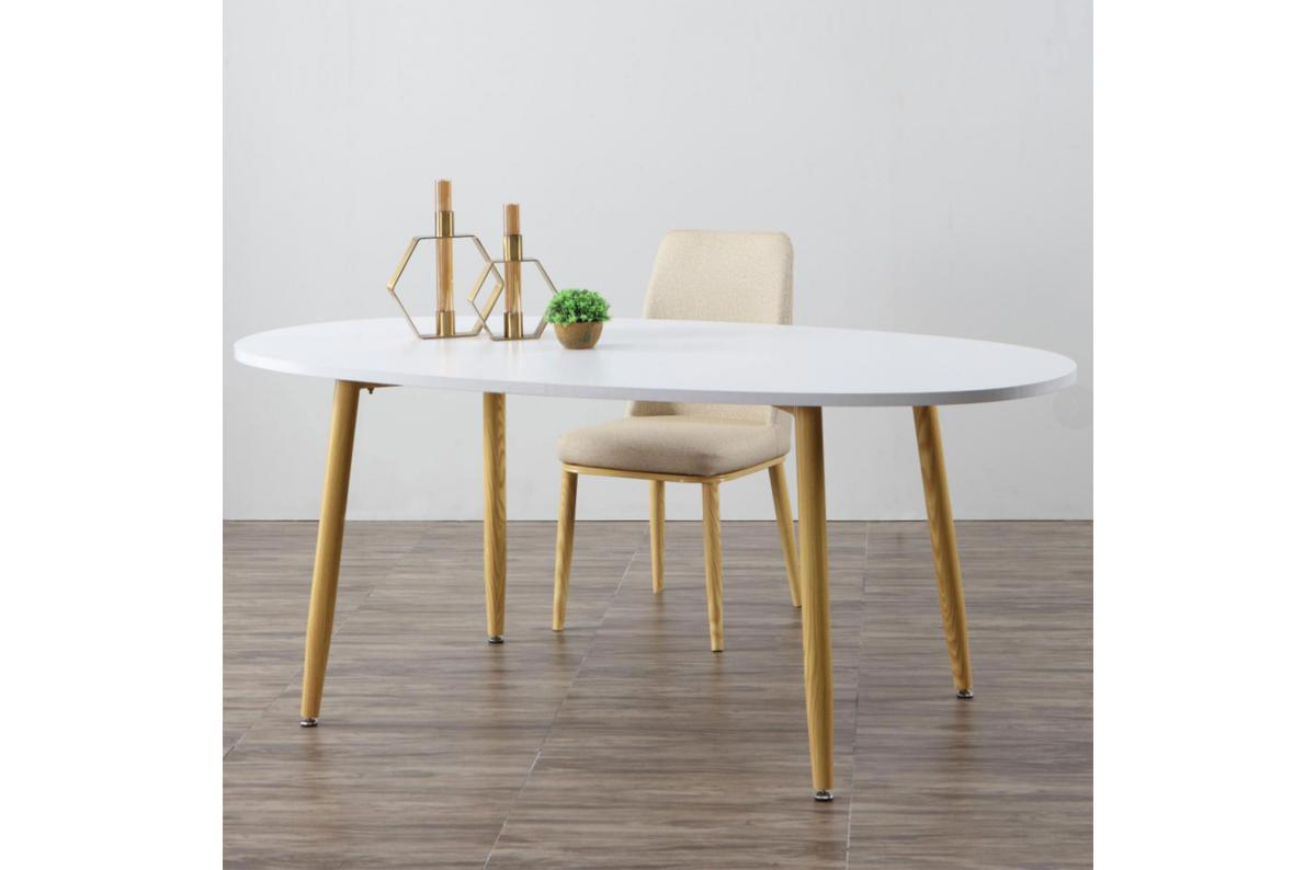 Table Scandinave Ovale Beige Et Blanche Noelle Table Salle A
