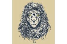 Tableau Animal Hipster Lion Hipster 50x50 - Tableaux design