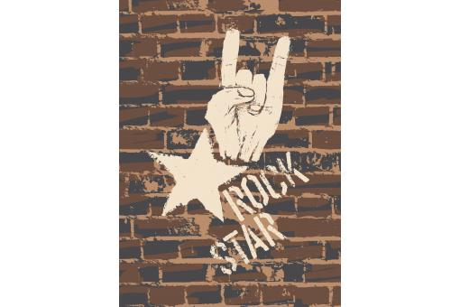 Tableau Brick Wall Rock Star L.55 x H.80 cm
