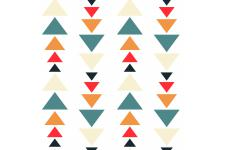 Tableau Pattern Triangles Colorés 60x60 - Tableau pop art