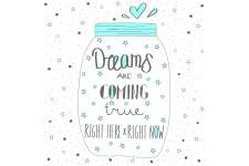 Tableau Quotes Dreams Come True 60x60 - Tableaux design