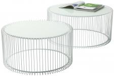 Set de 2 Tables basses Wire blanches - Table basse verre design