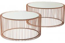 Lot de 2 Tables basses Wire cuivre - Table basse verre design