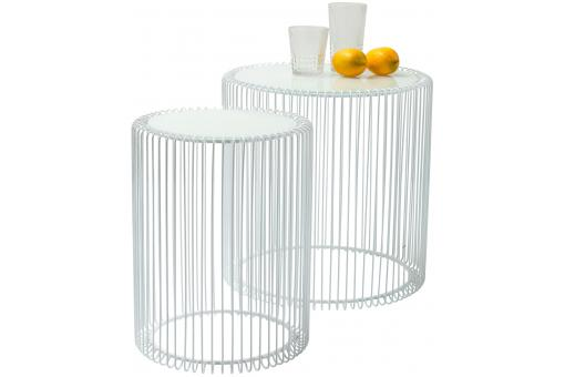 Set de 2 Tables d'appoint Wire blanches