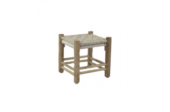 tabouret bois macram crochet petit tabouret pas cher. Black Bedroom Furniture Sets. Home Design Ideas