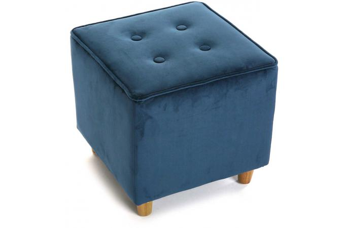 tabouret capitonn carr impression velours bleu velvet petit tabouret pas cher. Black Bedroom Furniture Sets. Home Design Ideas