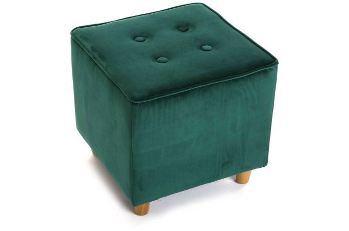tabouret capitonn carr impression velours vert velvet petit tabouret pas cher. Black Bedroom Furniture Sets. Home Design Ideas