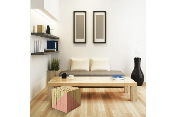 tabouret carr en bois orange mirage petit tabouret pas cher. Black Bedroom Furniture Sets. Home Design Ideas