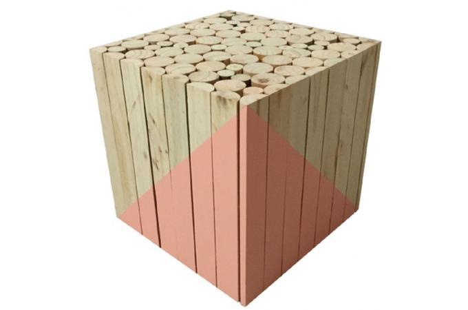 tabouret carr en bois orange mirage petit tabouret pas cher. Black Bedroom Furniture Sets. Home Design Ideas