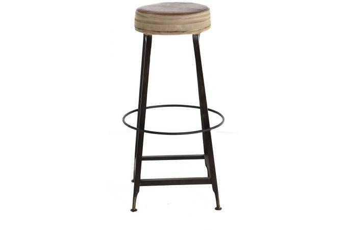 tabouret de bar assise en cuir marron pi tement en fer zini tabouret de bar pas cher. Black Bedroom Furniture Sets. Home Design Ideas