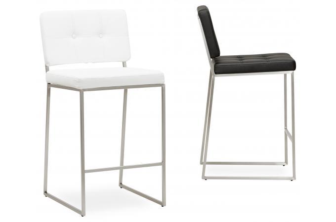 tabouret de bar design capitonn blanc dolly tabouret de bar pas cher. Black Bedroom Furniture Sets. Home Design Ideas