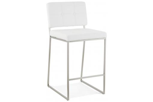 Tabouret de bar design capitonné blanc DOLLY