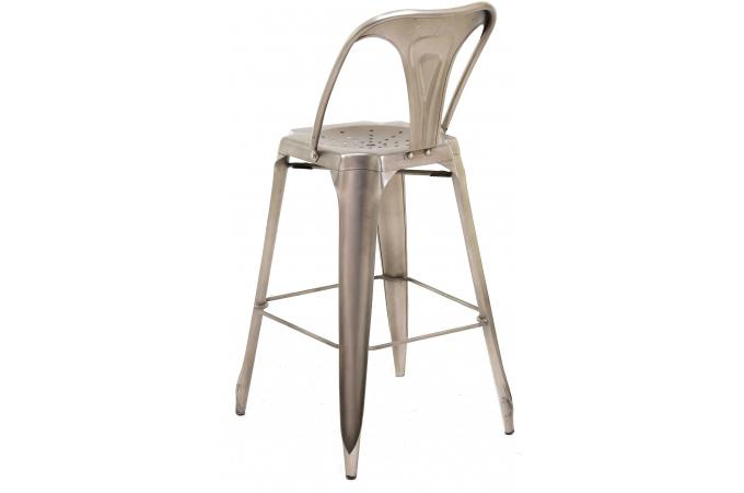 tabouret de bar industriel avec dossier argent kirk tabouret de bar pas cher. Black Bedroom Furniture Sets. Home Design Ideas