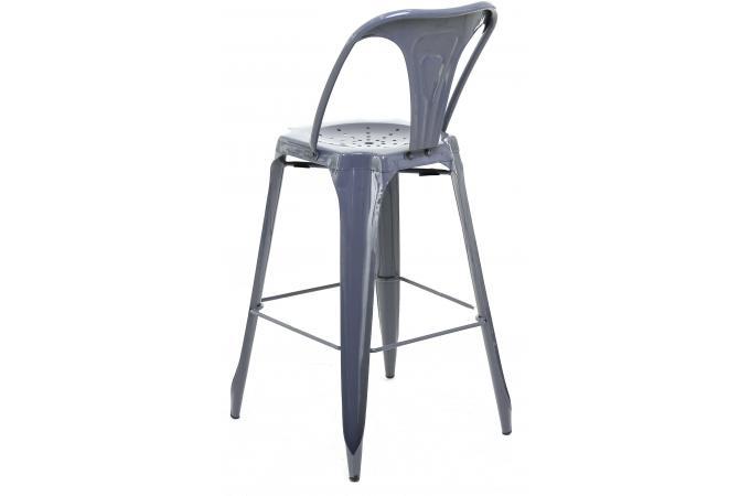 tabouret de bar industriel avec dossier gris kirk tabouret de bar pas cher. Black Bedroom Furniture Sets. Home Design Ideas