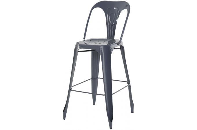tabouret de bar industriel avec dossier gris kirk. Black Bedroom Furniture Sets. Home Design Ideas