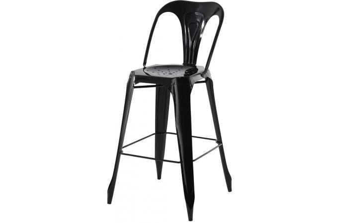 tabouret de bar industriel avec dossier noir kirk tabouret de bar pas cher. Black Bedroom Furniture Sets. Home Design Ideas